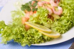 Salada com camarões e abacate imagens de stock royalty free
