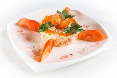 Salada com caviar vermelho Imagem de Stock Royalty Free