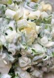 Salada com cebola verde e ovo Fotos de Stock Royalty Free