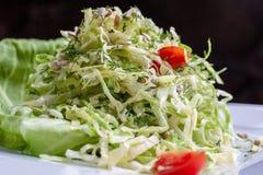 Salada com couve e aneto em uma bacia Fim acima imagens de stock royalty free