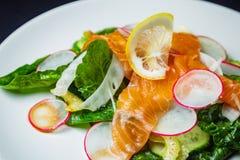 Salada com espinafres, aipo, erva-doce, pepino, rabanete e salmões Fotografia de Stock Royalty Free