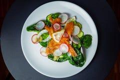 Salada com espinafres, aipo, erva-doce, pepino, rabanete e salmões Imagem de Stock Royalty Free
