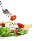 Salada com forquilha foto de stock royalty free