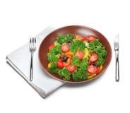 Salada com forquilha e faca Imagem de Stock Royalty Free