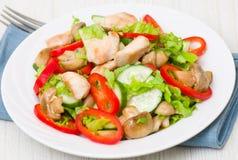 Salada com galinha, cogumelos e vegetais Imagens de Stock