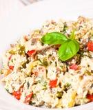 Salada com galinha, cogumelos, ovos, queijo, vegetais Fotos de Stock