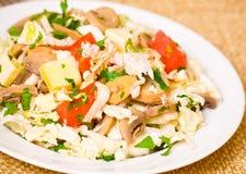 Salada com galinha, cogumelos, queijo e vegetais Fotografia de Stock