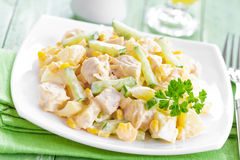 Salada com galinha e abacaxi Fotos de Stock Royalty Free