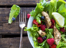 Salada com galinha e bagas Foto de Stock
