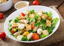 Salada com galinha, mussarela e tomates Imagem de Stock