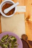 Salada com a língua do açafrão e de carne Imagem de Stock