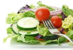 Salada com os pepinos e o tomate da cebola da alface Imagens de Stock Royalty Free