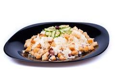 Salada com pão torrado e salsicha do queijo Fotografia de Stock