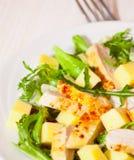 Salada com peito de frango e queijo imagens de stock