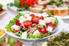 salada com queijo, salsa e especiarias Imagens de Stock