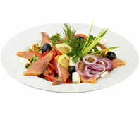 Salada com salmões saborosos imagem de stock royalty free