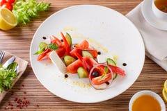 Salada com vegetais e verdes Imagem de Stock