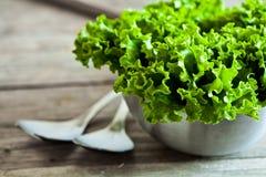 Salada da alface na bacia e nas colheres do metal Imagem de Stock Royalty Free