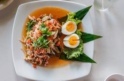 Salada da beringela com camarão secado Imagens de Stock