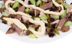 Salada da carne com cogumelos Imagens de Stock Royalty Free