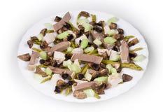 Salada da carne com cogumelos Fotos de Stock Royalty Free