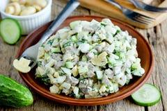 Salada da carne com pepino fresco, cogumelos postos de conserva, ovos cozidos Imagens de Stock Royalty Free