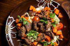 Salada da carne fresca com abóbora Fotos de Stock Royalty Free