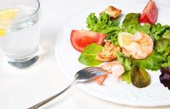 Salada da dieta com vidro da água Imagens de Stock Royalty Free