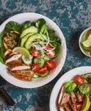 Salada da galinha grelhada e do legume fresco Conceito do alimento da dieta saudável Imagens de Stock