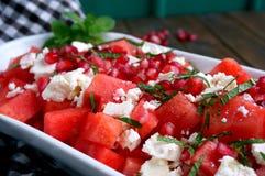 Salada da melancia e do feta Fotografia de Stock