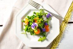 Salada da mola com ervilhas e cenouras fotos de stock