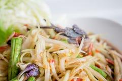 Salada da papaia com caranguejo salgado Foto de Stock
