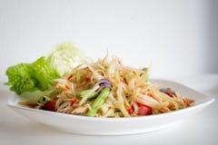 Salada da papaia com caranguejo salgado Fotografia de Stock Royalty Free