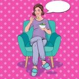 Salada de Art Happy Pregnant Woman Eating do PNF em casa Alimento saudável, conceito da maternidade ilustração royalty free