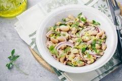 Salada de atum com aipo, os feijões brancos, a cebola vermelha e a salsa Foto de Stock Royalty Free