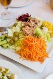 Salada de atum deliciosa e legumes variados, frescos no restaur Fotos de Stock Royalty Free