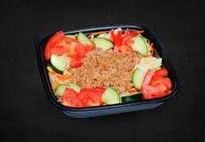 Salada de atum em uma caixa plástica Imagem de Stock