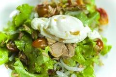 Salada de atum tailandesa com ovo, a cebola picante de Tuna Salad e os tomates na placa imagens de stock royalty free