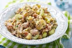 Salada de batata com aipo e a cavala fumado Imagem de Stock Royalty Free