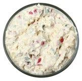 Salada de batata cozida do estilo da batata sobre a opinião de ângulo alto branca Imagem de Stock