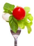 Salada de Caprese em uma forquilha Fotos de Stock
