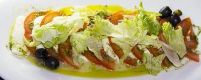 Salada de Caprese: mussarela com tomates imagem de stock royalty free