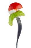 Salada de Caprese na forquilha Fotografia de Stock