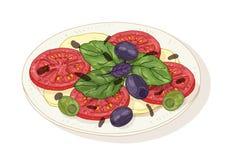 Salada de Caprese na placa isolada no fundo branco A refeição italiana deliciosa saudável do restaurante fez de orgânico fresco ilustração do vetor