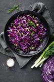 Salada de couve vermelha com a cebola verde e aneto frescos Fotos de Stock Royalty Free