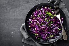 Salada de couve vermelha com a cebola verde e aneto frescos Prato de vegetariano Imagens de Stock Royalty Free