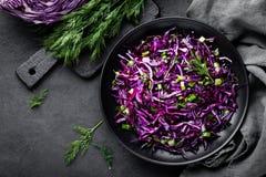 Salada de couve vermelha com a cebola verde e aneto frescos Prato de vegetariano Imagens de Stock