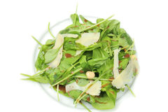 salada de foguete com queijo no fundo branco Fotos de Stock Royalty Free