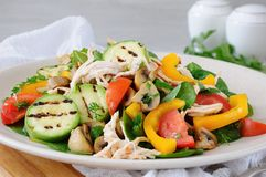 Salada de frango morna com vegetais Fotografia de Stock Royalty Free