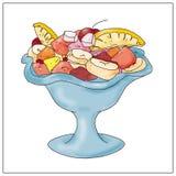 Salada de fruto com alimento, livros, Fotos de Stock Royalty Free